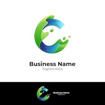 Letra c e conceito de design de logotipo de onda