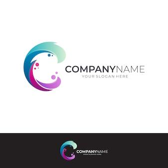 Letra c e design de logotipo de onda