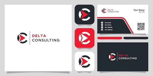 Letra c e logotipo abstrato delta e cartão de visita