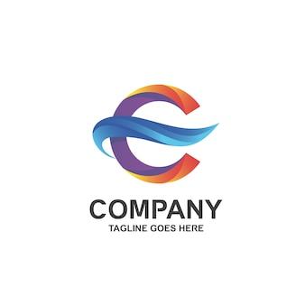 Letra c e logotipo de onda