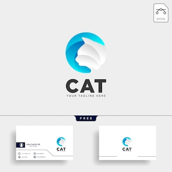 Letra c gato pet animal tipo logo template vector ícone