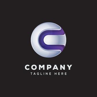 Letra c globo logotipo conceito vetor premium