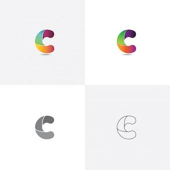 Letra c logo design colorido com estilo diferente