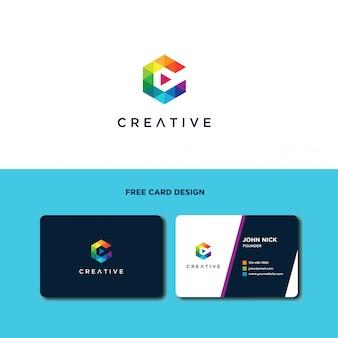 Letra c logo design com forma poligonal