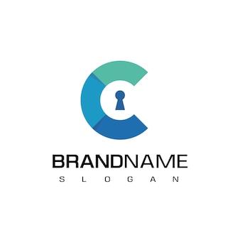 Letra c, logotipo seguro com furo da chave
