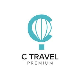 Letra c modelo de vetor de ícone de logotipo de viagem