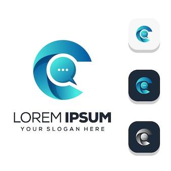 Letra c moderna com ilustração do logotipo do chat