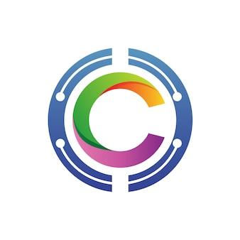 Letra c no vetor de logotipo do círculo