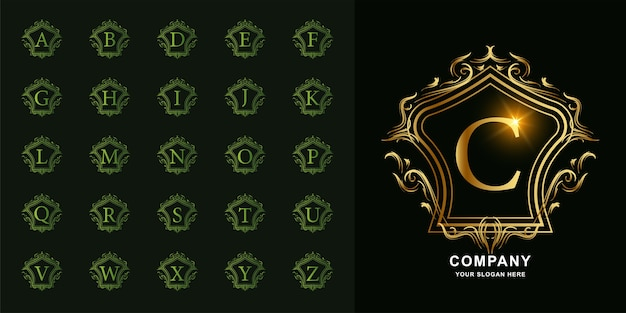 Letra c ou alfabeto inicial de coleção com modelo de logotipo dourado moldura floral ornamento de luxo.
