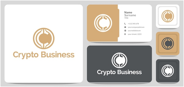 Letra c para crypto logo design moeda digital money finance and blockchain