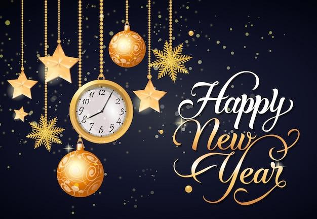 Letra caligrafia de ano novo feliz