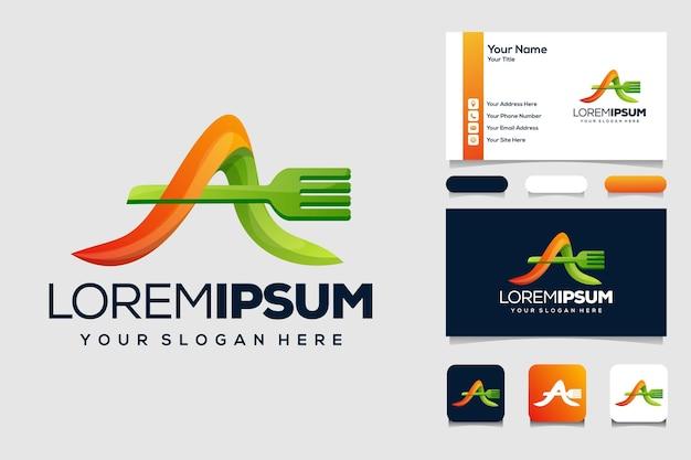 Letra colorida a com design de logotipo de comida e cartão de visita