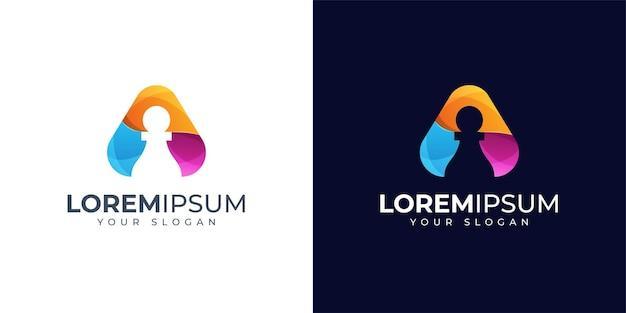 Letra colorida a e inspiração de design de logotipo de peão. logotipo da xadrez