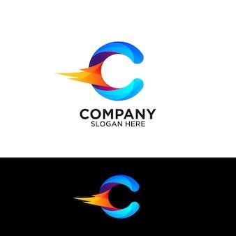 Letra colorida c com design de logotipo de fogo