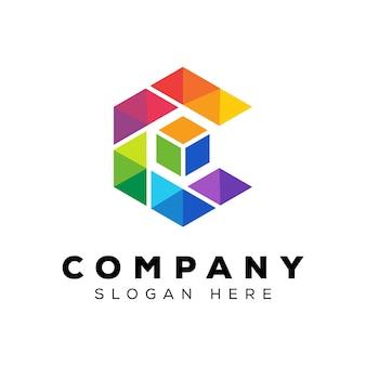 Letra colorida c com modelo de design de logotipo de caixa de cubo