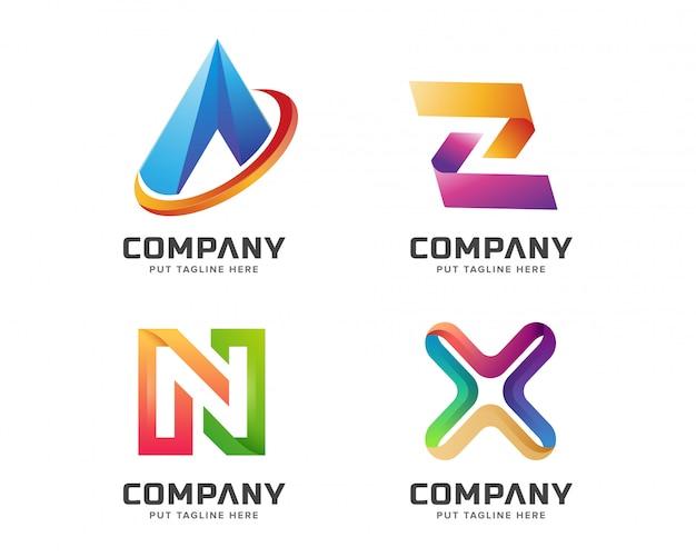 Letra colorida inicial uma coleção de logotipo