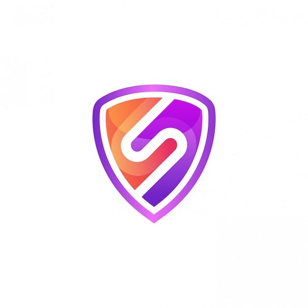 Letra colorida s com modelo de vetor de design de logotipo de escudo