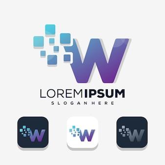 Letra colorida w com design de logotipo digital