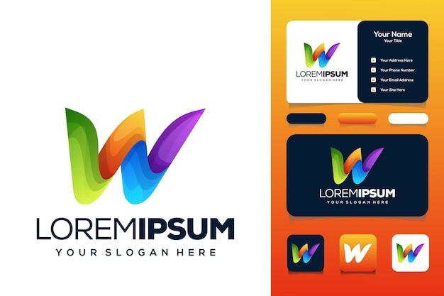 Letra colorida w design de logotipo cartão de visita de ônibus
