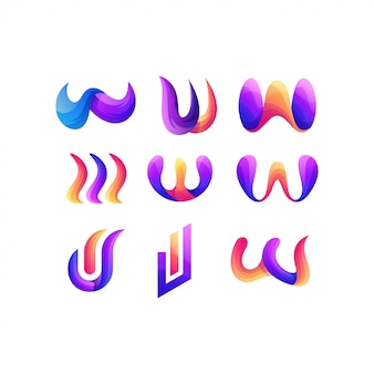 Letra conjunto w design de logotipo de cor gradiente