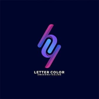 Letra cor h e y ilustração logotipo.
