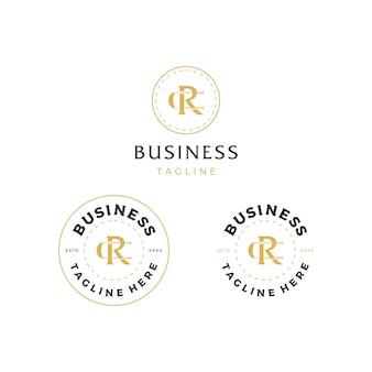 Letra cr rc design de logotipo