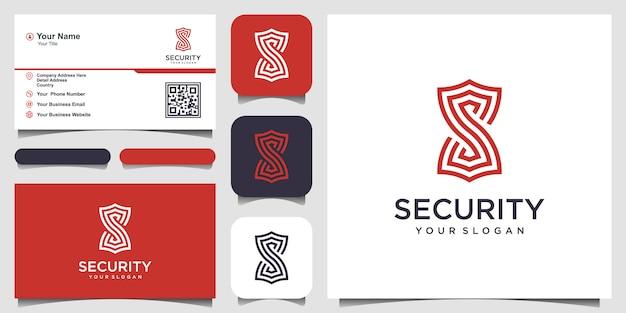 Letra criativa s com modelos de logotipo do conceito de escudo. e cartão de visita