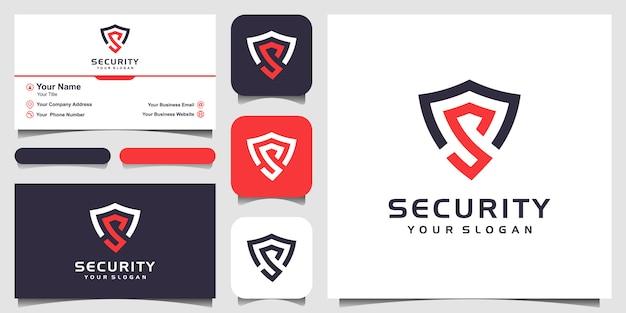 Letra criativa s modelos de design de logotipo de conceito de escudo e design de cartão de visita