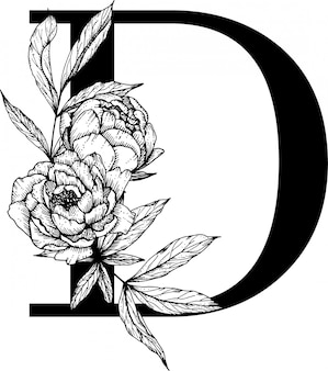 Letra d. alfabeto floral, alfabeto botânico Vetor Premium