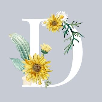 Letra d com flores