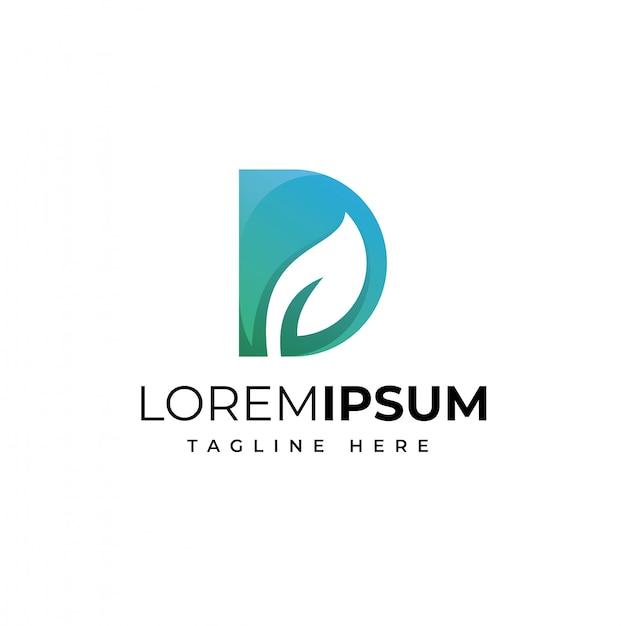Letra d com folha logotipo design premium