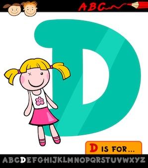 Letra d com ilustração de desenho animado de boneca