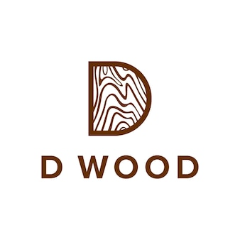 Letra d com madeira marrom, criativo, único, simples, elegante, geométrico, moderno, logotipo, design