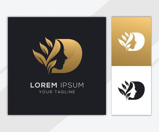 Letra d com modelo de logotipo de beleza feminina natural de luxo