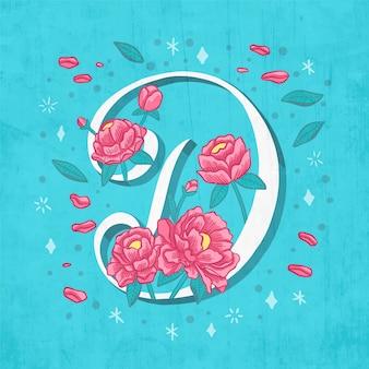 Letra d criativa com flores e folhas
