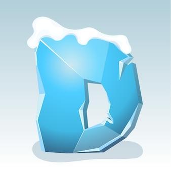 Letra d de gelo com neve no topo, fonte de vetor