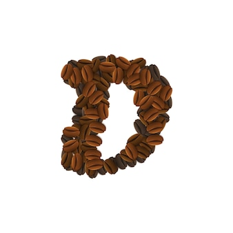 Letra d de grãos de café