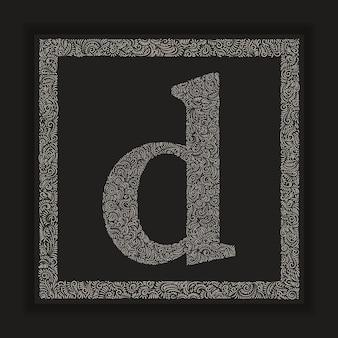 Letra d decorativa vetor do alfabeto do monograma com fundo do quadro