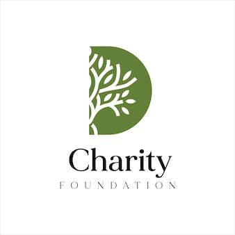 Letra d design do logotipo da fundação de caridade