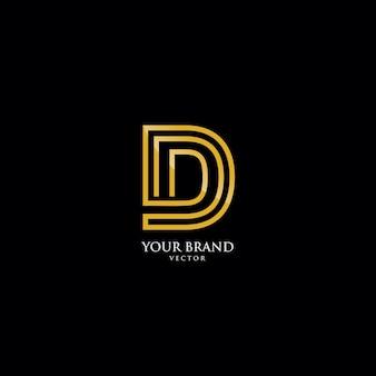 Letra d em estilo monograma dourado