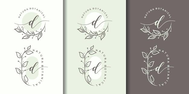 Letra d feminina com design de logotipo floral