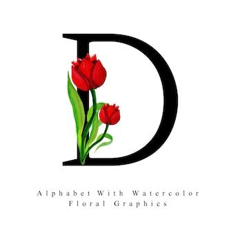 Letra d fundo floral aquarela