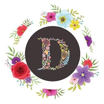 Letra d inicial com vetor floral