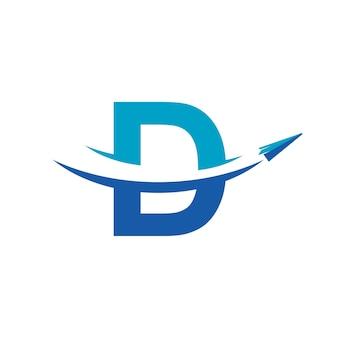 Letra d inspiração para design de logotipo de viagem de avião de papel