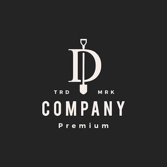 Letra d, marca, pá, hipster, logotipo vintage, vetorial, ícone, ilustração