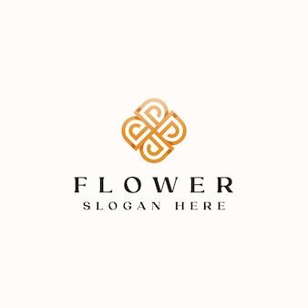 Letra d modelo de logotipo do monograma de flor dourada.