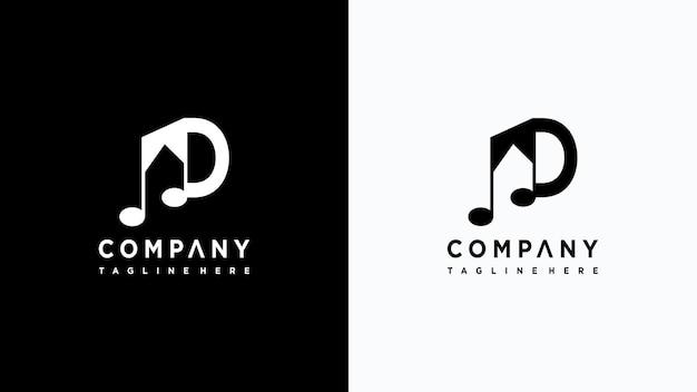 Letra d música logo design premium vector