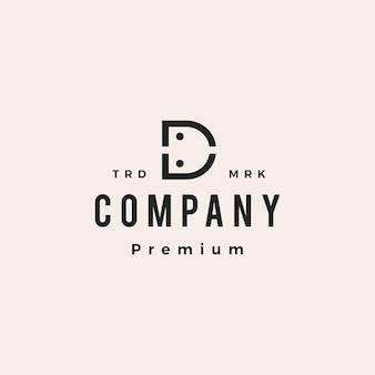 Letra d, pessoas, equipe, família, hipster, logotipo vintage, ícone, vetorial, ilustração