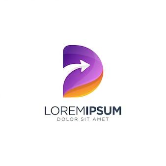 Letra d seta logotipo