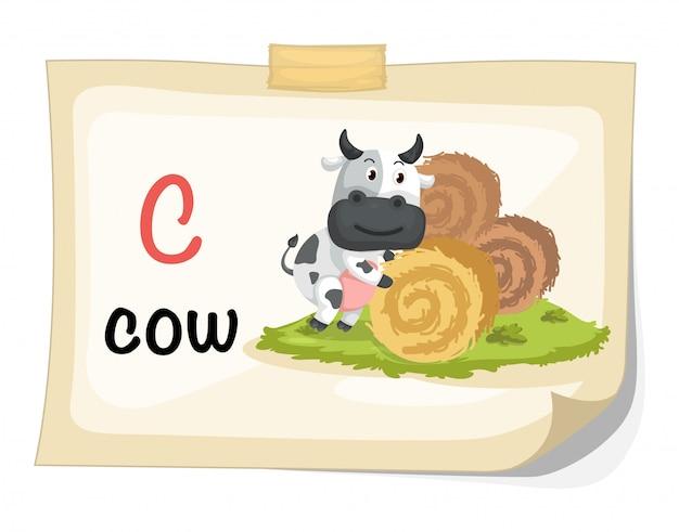 Letra de alfabeto animal c para vetor de ilustração de vaca
